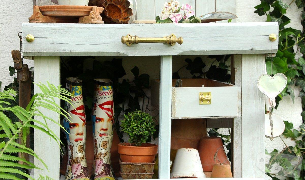 pflanztisch aus paletten, pflanztisch aus paletten diy * living & green, Design ideen